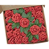 NW 1776 Artificial Flower Artificial Rose, 25 Artificial Flower Heads, Foam Rose with Stem, Suitable for DIY, Wedding, Party,