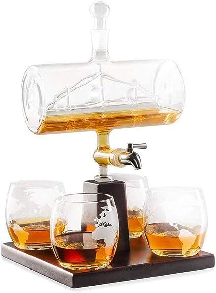 TONGSH Los decantadores Whisky Globo Jarra con 4 Copas ...
