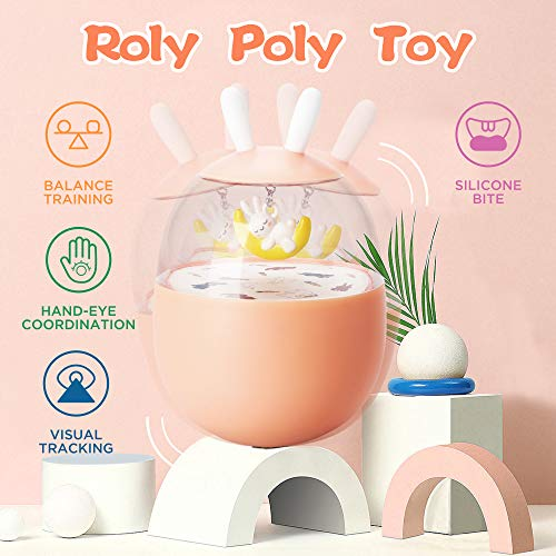 6x3.5 JONZOO Roly Poly Toy for Babies 6-18 Months Tumbler Wobbler Toy for Baby Boys Girls