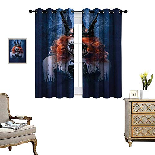 Anyangeight Queen Blackout Window Curtain Queen of Death Scary Body Art Halloween Evil Face Bizarre Make Up Zombie Customized Curtains W72 x L63 Navy Blue Orange Black]()