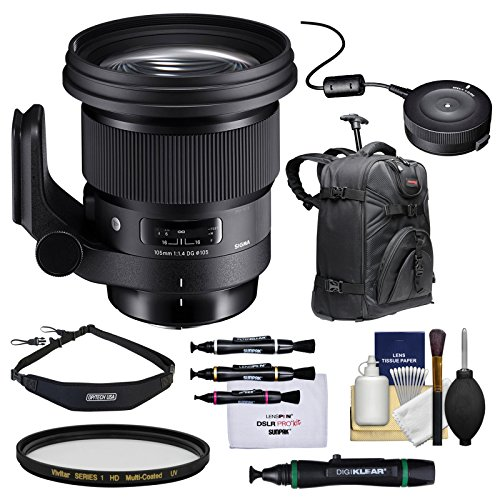 Sigma 105mm f/1.4 Art DG HSM Lens with USB Dock + Filter + Backpack Kit for Nikon DSLR Cameras