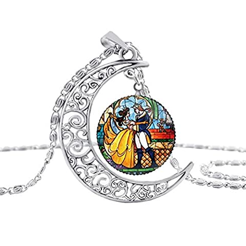 Womens Fairy Tale the prince and Beauty Princess Enchanted Rose Moon Necklace Chain Jewelry (Prince & (Beast Jewelry)