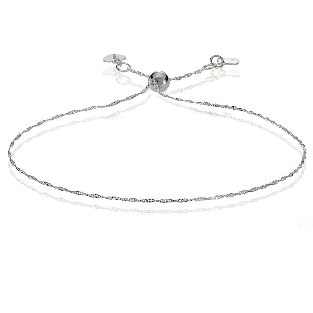 Bria Lou 14k White Gold .9mm Italian Singapore Adjustable Chain Bracelet, 7-9 Inches