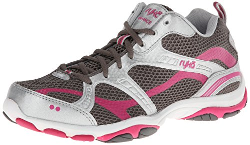RYKA Women's Enhance 2 Synthetic Training Shoe,Metallic Steel Grey/Chrome Silver/Zuma Pink,8 M US
