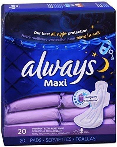 Always Maxi Pads Overnight Extra Heavy Flow 20 Each (Pack of 4) (Always Maxi Pads Overnight Extra Heavy Flow)