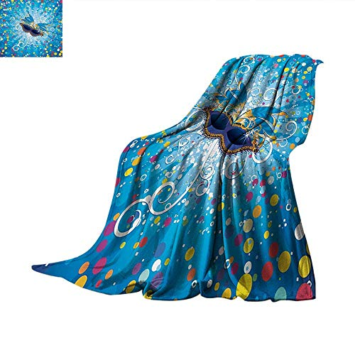 Mardi Gras Throw Blanket Blue Backdrop with Colorful Dots Spots and Carnival Mask with Stylized Swirls Oversized Travel Throw Cover Blanket 60