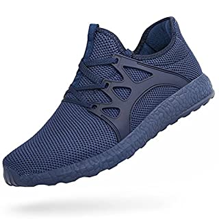 Feetmat Tennis Shoes for Men Non Slip Mesh Running Gym Shoes Lightweight Knitted Walking Athletic Shoes Blue 7.5