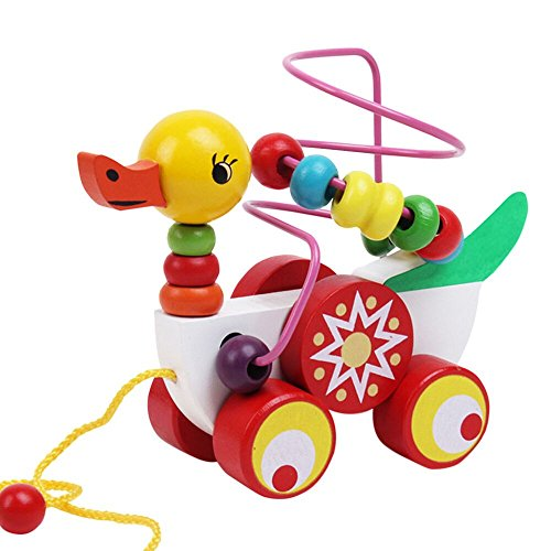 F_Gotal Toys for Boys Girls Clearace - Baby Kids Toddler Educational Toys Wooden Children's Animal Duck Trailer Beads Stringing Puzzle Learning Toys for Kids Child Adults - Duck Rocking