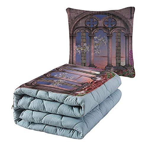 iPrint Cotton Linen Throw Pillow,Quilt Dual-Use Pillow,Gothic,Ancient Colonnade in Secret Garden with Flowers at Sunset Enchanted Forest,Grey Blue Lilac Red,for Adults Childs and Home Deco from iPrint