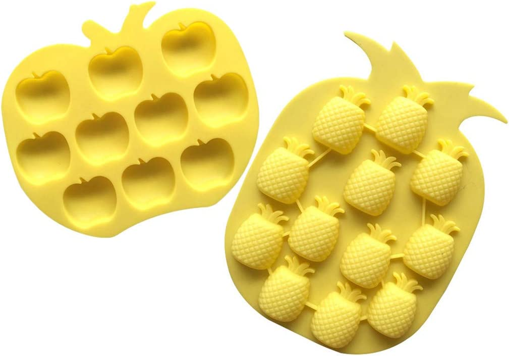 Ice Tray Set of 2, Pineapple Apple Silicone Baking Mold Ice Tray Tropical Fruit Drink Ice Molds (2, Yellow)