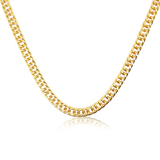 CrazyPiercing Fashion MEN Stainless Steel Faux Gold Curb Link Chain