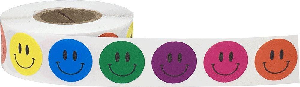 Blu Lucido Felice Faccia Cerchio Punto Adesivi 500 Etichette su Rotolo 19 mm 3//4 di Pollice Rotondo