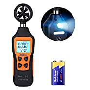 TACKLIFE Anemometer with Flashlight, Handheld Digital Meter for Measuring Wind Speed, Temperature, Wind Chill, 0.8 m/s - 30 m/s Range, 0.1m/s Accuracy, Max/Min/AVG/Hold Data Function - DA03