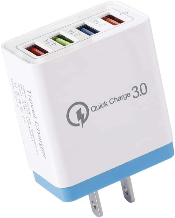 Portable Travel 4 USB Port-s Fast Charging QC 3.0 Wall Charger Power Adapter hudiemm0B Charger Adapter