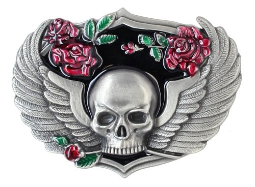 (Pewter Belt Buckle - Enameled Skull & Wings with Roses - Belt Buckle)