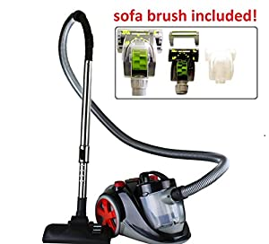 Ovente ST2010 Featherlite Cyclonic Bagless Canister Vacuum with Hepa Filter and Sofa Brush - Corded