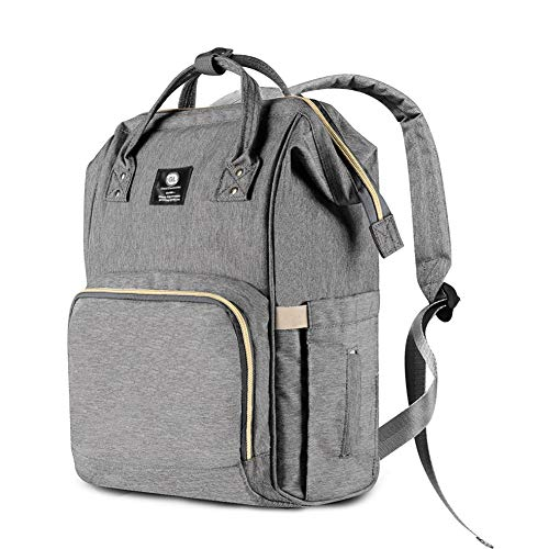 Diaper Bag Backpack, Multifunction Travel Backpack, Waterproof, Large Capacity Baby Nappy Bag, Stylish and Durable, Grey