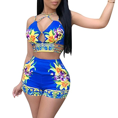 Floral Outfit - Fadvanes Womens Sexy Two Piece Outfits Bodycon Shorts Set and Floral Print Strap Crop Top Summer Beach Club Wear Blue L