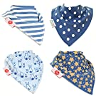 Zippy Fun Baby Bandana Drool Bibs (4 Pack Gift Set) Stylish Blues