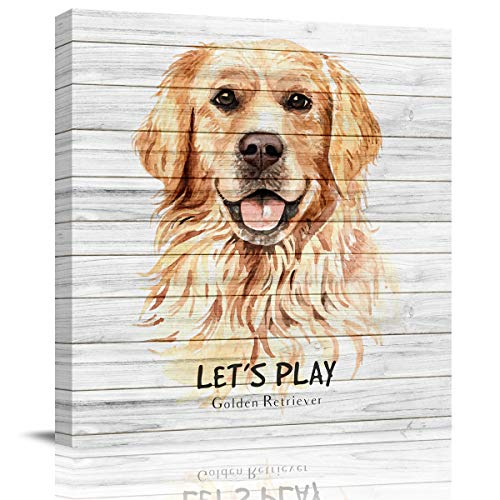 Let's Play Golden Retriever Dog Animal Wood Grain Pattern Canvas Wall Art,Square Artworks Art Paintings for Bedroom Living Room Home Wall Decor,Stretched by Wooden Frame,Ready to Hang,8 x 8 Inch
