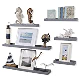 Wallniture Philly Wall Mount Wood Floating Shelves - Kids Room Bookshelf Tray - Picture Ledge - Kitchen Bathroom Storage in Varying Sizes Gray Set of (6)
