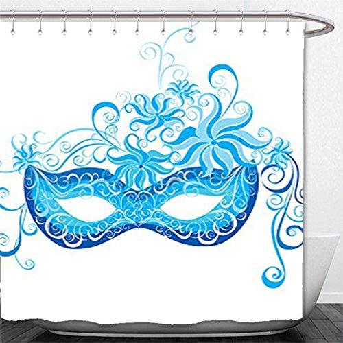 Venetian Masks Los Angeles (Interestlee Shower Curtain Masquerade Decorations Collection Venetian Mask Majestic Impersonating Enjoying Halloween Theme Image Print Navy Blue Turquoise)