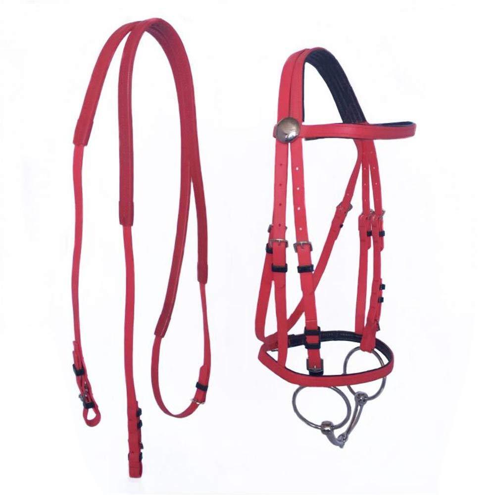 馬の首輪つばのホルター馬の乗馬の手綱高品質PVC競馬耐久性のある乗馬機器。  Red B07R9JT8ZD