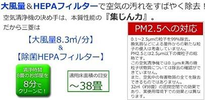 Mitsubishi Electric MA-83H-W - Purificador de aire (498 m³/h, 63 ...
