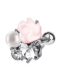 BODYA women faux pearl Cubic Zirconia Gem flower Stainlss Steel piercing Barbell Stud Earring Cartilage Helix Earring