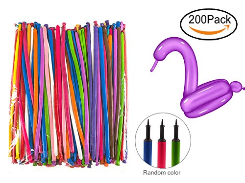 U-star 200 PCS Latex Twisting Balloons 260Q Magic Balloons Assorted Color Long Balloons For Animal Shape Party, Birthdays, Clowns, Weddings Decorations (With 1PCS Pump)