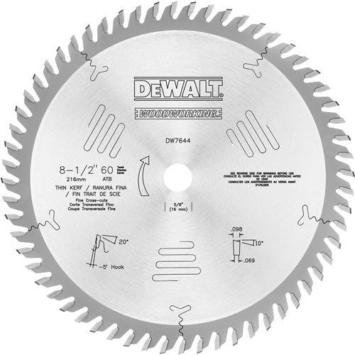 DEWALT DW7644 8-1/2-Inch 60T Fine Crosscut Blade