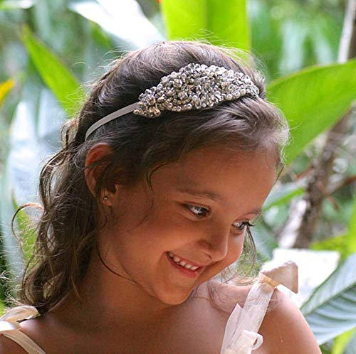 Deniferymakeup Flower Girl Headband Rhinestone Headband Baby headbands Headband Bridal Headband Crystal Headband Bling Headband Christening Bow Wedding Hair Accessories -