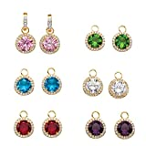 18K Yellow Gold-Plated Multi Color Simulated Gemstone and CZ 6 Pair Set Interchangeable Earrings