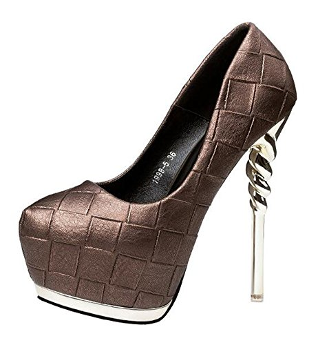 Chfso Donna Elegante Stiletto Tinta Unita Tacco Basso Slip On Spike Tacco Alto Pompe Plateau Scarpe In Bronzo