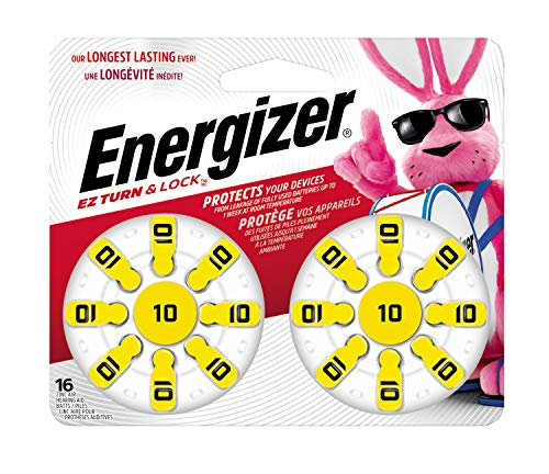 Energizer Hearing Aid Batteries Size 10, Yellow Tab (16 Battery Count)