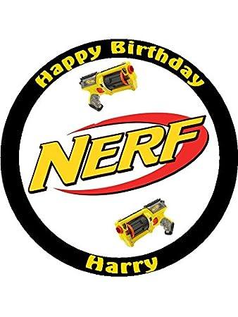 7.5 Nerf Gun Edible Icing Birthday Cake Topper