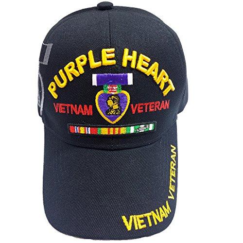 Military Medal Heart (US Military Purple Heart Medal Vietnam Veteran Cap (Black))
