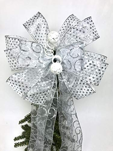 - Wreath Bow, Silver Wedding Bow, Tree Topper, Large Gift Bow, Wreath Bows, Holiday Bow, Home Decor, Christmas Bows, Swag Bow,- Handmade Bow