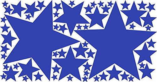 Drama Decor 62 Peel & Stick Removable Wall Decals Stars, Cornflower Blue