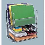 Elegant Champagne Platinum Finish Steel Mesh Office Desk Organizer Set Can Be Use Independently of Stack