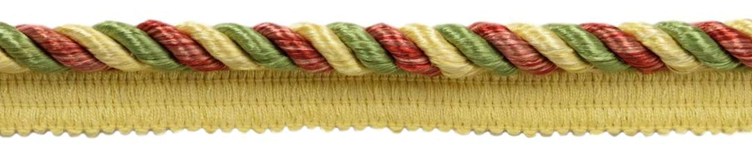 DÉCOPRO 24 Yard Package|Multi Colored 3/8 inch Brick Dust, Alpine Green, Beachwood, Maize Cord with Sewing Lip|Style# 0038MLT|Color: Carnival - PRA2B (72 Feet / 21.9 Meters) by DÉCOPRO