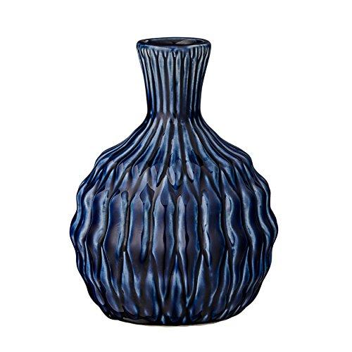 Tall Navy Ceramic Vase