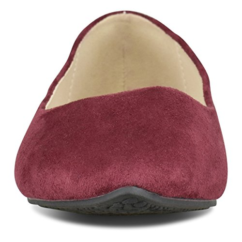 Su Toe Pointy Ballerina Comfortable Classic Ballet Slip Women's Walking Flats Closed Burgundy Toe Standard Suede On Premier gwaHnOqUO