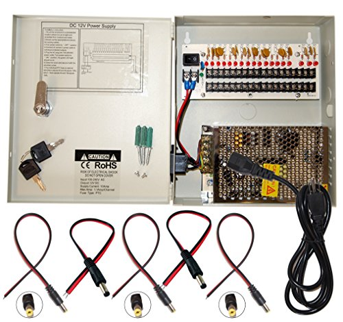 Evertech 16 Channel 12 Volt DC Output CCTV Distributed Power Supply Box for Security Camera with 18 Pcs. DC Male Pigtail
