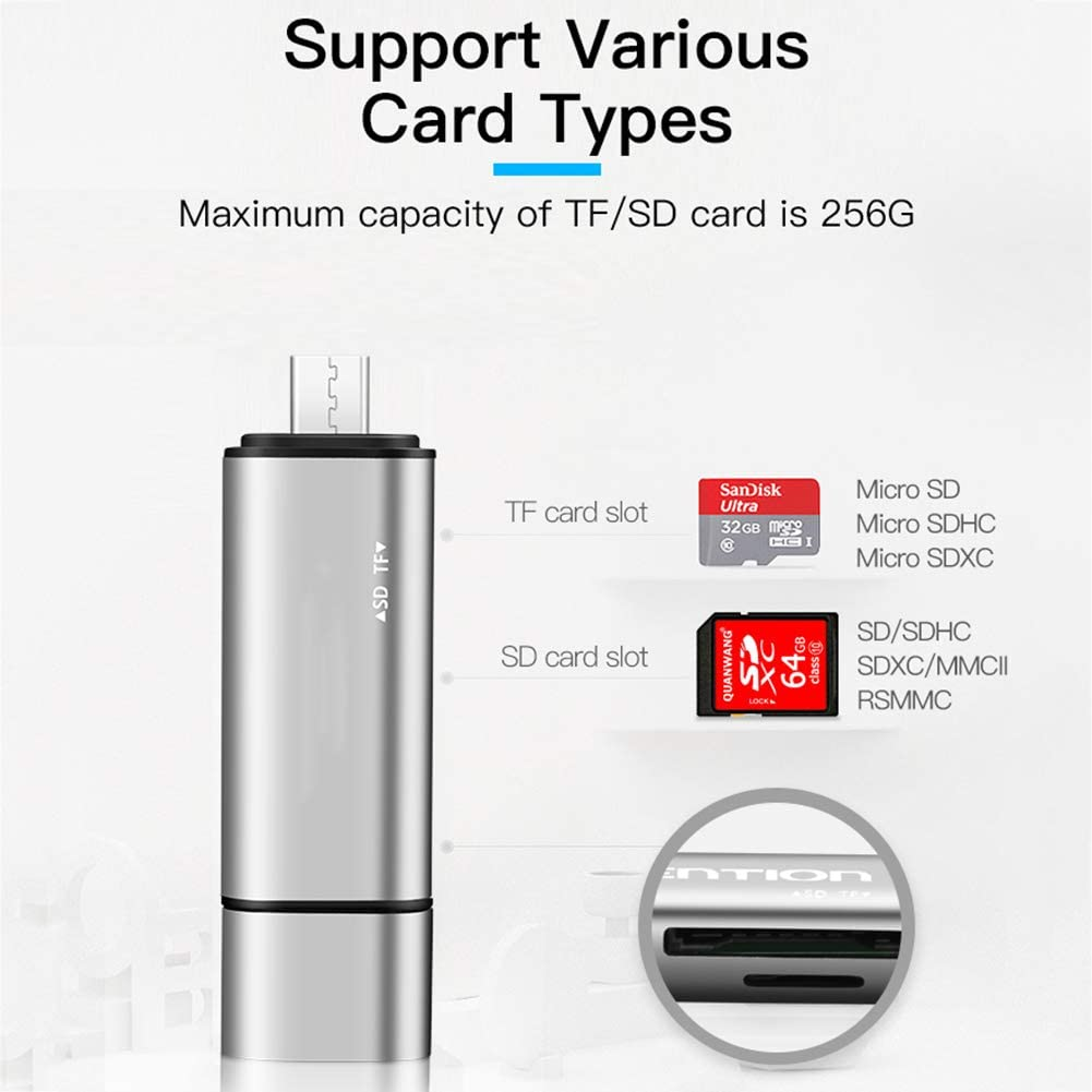 QLPP TF//SD Card Reader,3-in-1 Micro USB to USB Type-C OTG Adapter and USB 2.0 Portable Memory Card Reader,for SDXC//SDHC//SD//MMC//RS-MMC//Micro SD