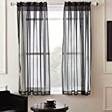Black Sheer Curtains KEQIAOSUOCAI 2 Pieces Solid Color Sheer Rod Pocket Curtains Panels For Bedroom Living room(Black,52Wx63L,Set of 2)