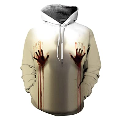 ZYEE Clearance Sale! Women Men Tops Long Sleeve Ghost 3D Printing Hoodie Sweatshirt Pullover Halloween