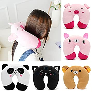 Cotton Cartoon Head Neck Rest U-Shape Pillow Soft Car Travel Office Home Nursing Cushion Buckdirect Worldwide Ltd.