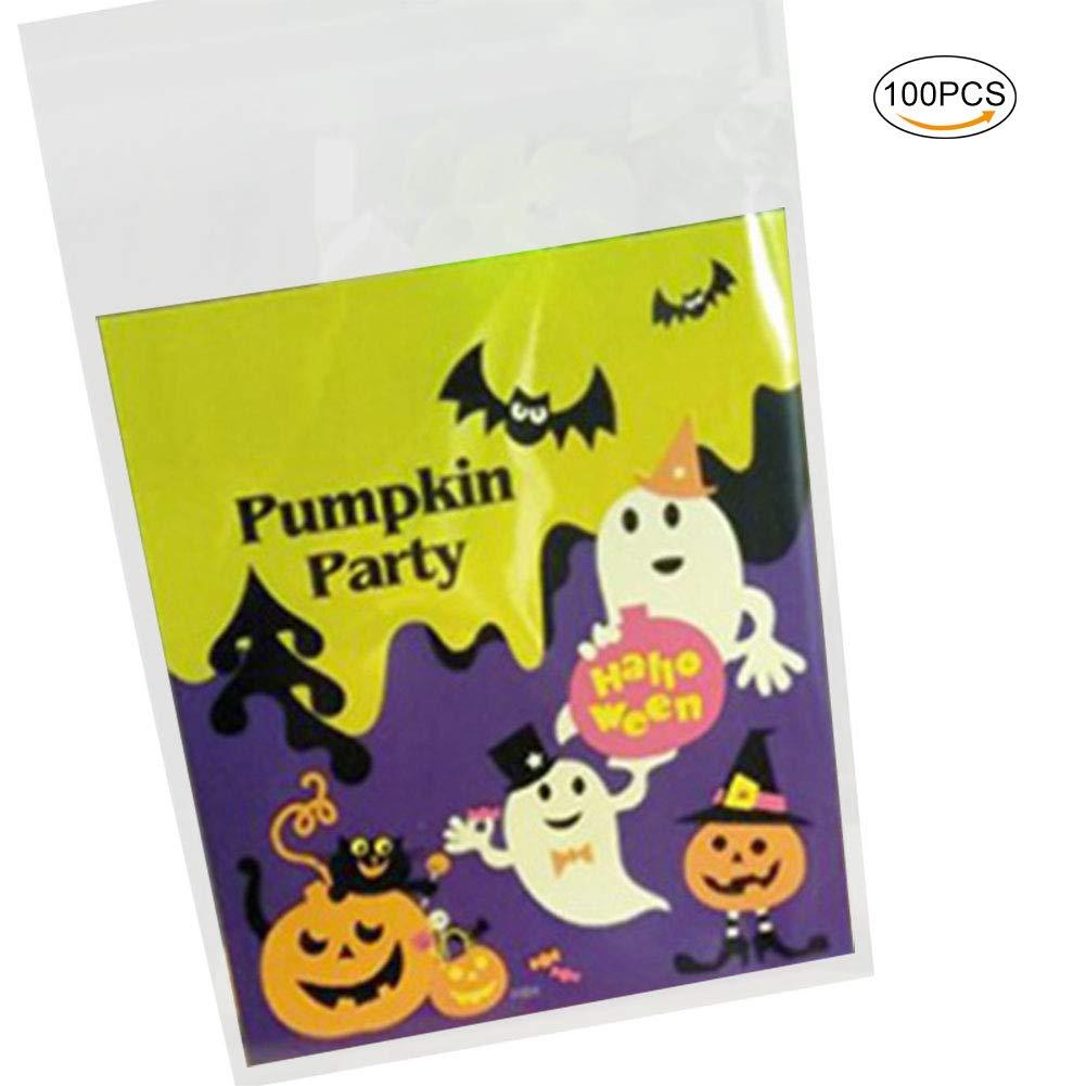 Aikesi 100Pcs Sacchetto a Caramelle Halloween Sacchetti Biscotto Regalo Autoadesivo per Bambino Sacchetto Decorazione di Festa Halloween