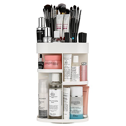 Jerrybox 360-Degree Rotating Makeup Organizer, Cosmetic Storage Carousel Spinning Holder Storage Rack, Fits Makeup Brushes, Lipsticks, Square, White ()
